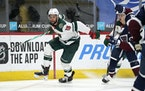 Minnesota Wild left wing Jordan Greenway drives to the net against the Colorado Avalanche in the second period