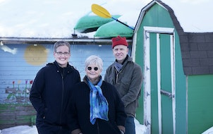 Sharing space Gail Runge, center, plans to build an ADU at the Minneapolis home of daughter Rya Priede and son-in-law Karl Harber.