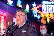Scott Koecheler, co-owner Bogart's Entertainment Center, spoke about the lawsuit and how state restrictions are affecting his business, at a press c