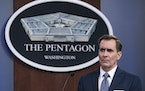 Pentagon spokesman John Kirby speaks during a media briefing at the Pentagon, in Washington. Kirby announced late Thursday, Feb. 25, 2021, that the U.