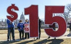 Activists appealed for a $15-an-hour minimum wage near the Capitol in Washington, Thursday, Feb. 25, 2021.
