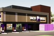 A rendering of a new concept Taco Bell that will be built in Brooklyn Park this year.