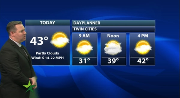 Morning forecast: Warm and windy; high 43