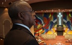 Henry Louis Gates Jr. admired the mural at West Angeles Church of God in Christ in Los Angeles.McGee Media/PBS