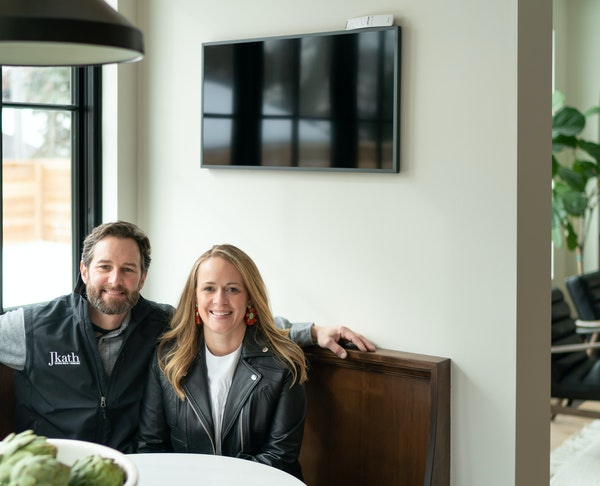 This modern Tudor home built and designed by Katie and Jesse Kath of Jkath Design Build + Reinvent, will be featured on Parade of Homes.       ] GLEN