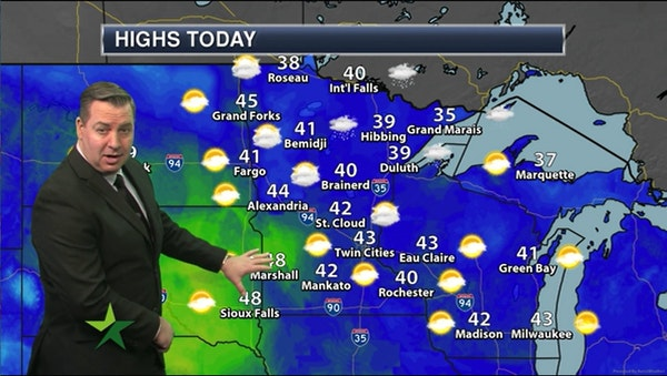 Afternoon forecast: High of 43, windy