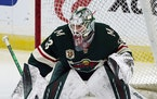Minnesota Wild goalie Cam Talbot (33) warms up before playing against the San Jose Sharks in an NHL hockey game, Friday, Jan. 22, 2021, in St. Paul, M