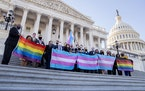 Democratic members of the U.S. House held LGBTQ and transgender pride flags outside the Capitol after the passage of the Equality Act on Thursday, Feb