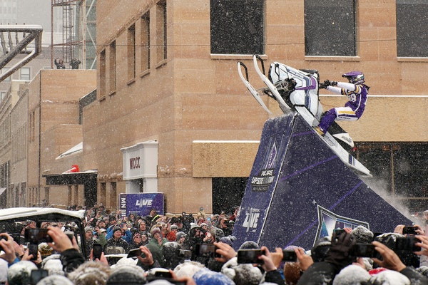 FILE-Levi LaVallee leapt a snowmobile over Nicollet Mall during Super Bowl weekend events in 2018. LaVallee will be filming a video of stunts around D