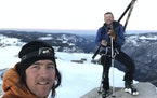 Jason Torlano posed with his friend Zach Milligan on Half Dome in Yosemite National Park, Calif., on Sunday, Feb. 21, 2021.