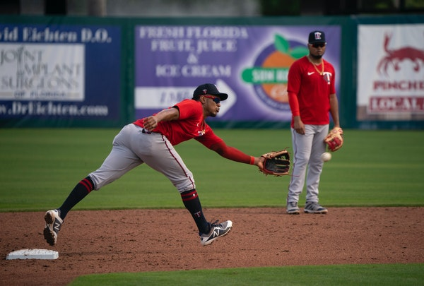 Twins infielder Jorge Polanco fielded a grounder during a drill on Saturday.