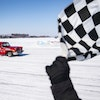 Jeremy Lambert, in his popular 1957 Chevy, took the checkered flag to win the feature race at the Lake Superior Ice Racing Association's weekly even