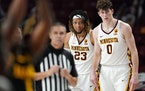 Minnesota center Liam Robbins (0) has missed the past two games, both Gophers losses to lower-tier teams.