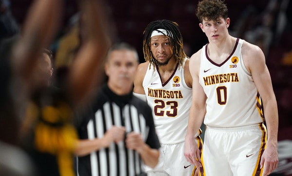 Minnesota center Liam Robbins suffered a sprained left ankle in a Feb. 11 victory vs. Purdue. The Gophers have lost all five since.