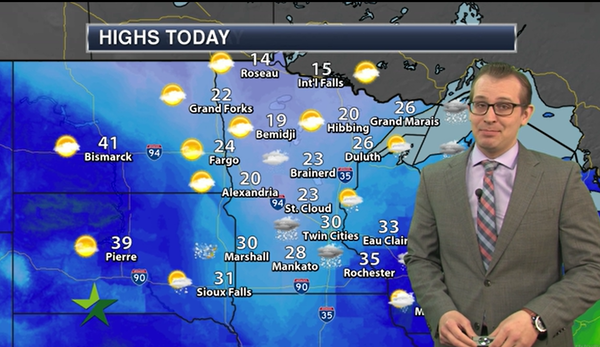 Afternoon forecast: High 30, snow showers end
