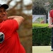 Several golfers, including Rory McIlroy (right), won red shirts and black pants at the Workday Open on Sunday in a tribute to Tiger Woods, recovering
