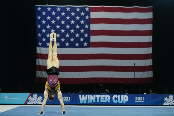 The Gophers' Shane Wiskus performed — and won — in the floor exercise during the Winter Cup gymnastics competition Sunday in Indianapolis.