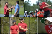 Some golfers and fans paid tribune to Tiger Woods on Sunday: They included Tommy Fleetwood and Cameron Champ (lower left), Sebastian Munoz (top left),