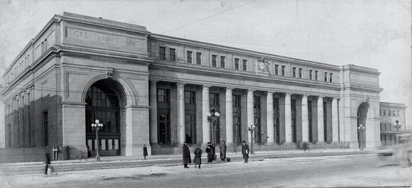 Minneapolis' brand new Great Northern Depot in 1914, the year it opened.