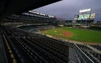 The stands sat empty in accordance with COVID-19 regulations as the Minnesota Twins took on the Cleveland Indians in the first inning. ] ANTHONY SOUFF