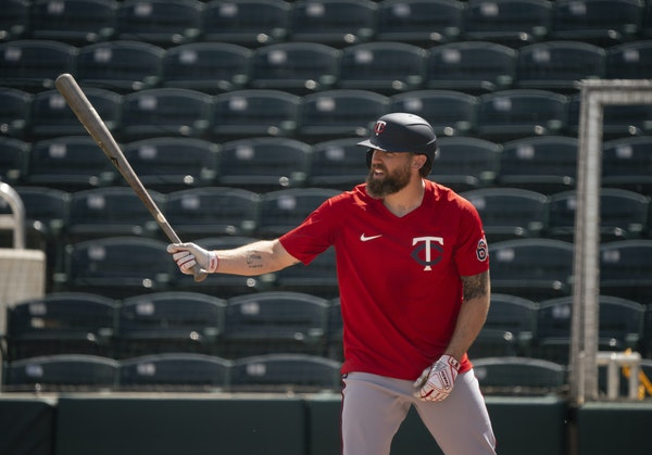 Jake Cave, who had an RBI double Monday, went through batting practice on Friday during Twins spring training.