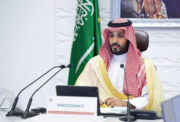 Saudi Arabia's Crown Prince Mohammed bin Salman at a virtual G-20 summit in 2020.
