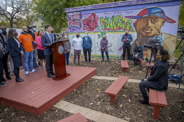 The Minneapolis Mayor Jacob Frey introduced the new MinneapolUS Strategic Outreach Initiative during a press conference at the Pillsbury United Commun