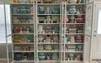 Megan Telfer has more than 300 pieces of vintage Pyrex, displayed on three large bookcases in her Texas home. Telfer's 5-year-old daughter has some