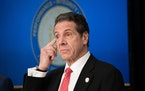 New York Gov. Andrew Cuomo listens during a coronavirus press conference at the governor's Manhattan office on March 2, 2020, in Manhattan, New York