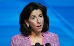 FILE - In this Jan. 8, 2021 file photo, President-elect Joe Biden's nominee for Secretary of Commerce, Rhode Island Gov. Gina Raimondo speaks during