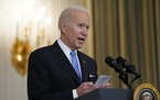 President Joe Biden speaks about efforts to combat COVID-19, in the State Dining Room of the White House, Tuesday, March 2, 2021, in Washington. (AP P