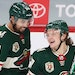 Kirill Kaprizov (right) celebrated a recent goal with teammate Matt Dumba. He has six goals and 11 assists for 17 points, which leads the Wild and all