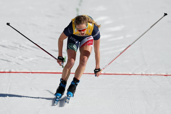 Afton native Jessie Diggins crossed the finish line to finish fourth in the 10km freestyle at the Nordic world ski championships in Oberstdorf, German