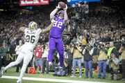 Kyle Rudolph caught the winning touchdown pass in overtime to end the Vikings 26-20 victory over New Orleans in the 2019 playoffs.