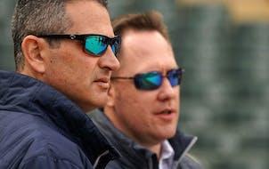 Twins Senior Vice President and General Manager Thad Levine and Executive Vice President and Chief Baseball Officer Derek Falvey ANTHONY SOUFFLE • a