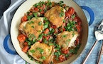 Cider Vinegar Chicken With Bacon and Tomatoes