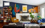 The colorful mural that Jen Rondeau painted on a living room wall at her home in West Orange, N.J., Feb. 12, 2021.