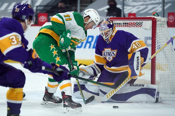 Zach Parise skated in on Kings goalie Calvin Petersen during Saturday night's game at Xcel Energy Center.
