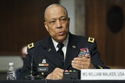 Army Maj. Gen. William Walker, Commanding General of the District of Columbia National Guard answers questions during a Senate Homeland Security and G