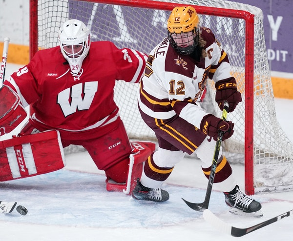 Grace Zumwinkle, looking to shoot against Wisconsin goalie Kennedy Blair, leads the nation with 16 goals.