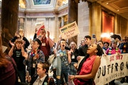 While Rep. Tim Miller, R-Prinsburg, spoke on an amendment about conversion therapy on the House Floor, over one hundred protesters with Outfront Minne