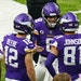 Vikings quarterback Kirk Cousins (8) talking to some of his receivers during the Dec. 20 game against the Bears.