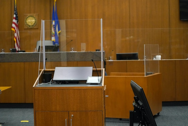 The courtroom C-1856 where the Derek Chauvin trial will take place at the Hennepin County Government Center and seen Friday in Minneapolis. ]