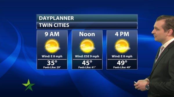 Morning forecast: More sun, high 49
