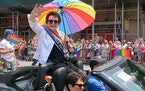 Tennis legend Billie Jean King waved to the crowd in her role as one of the grand marshals of New York City's gay pride march in New York in 2018.