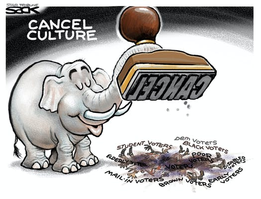 Title:  Cancel Culture.  Image:  Grinning Republican Elephant slamming a giant