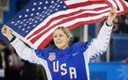 Gigi Marvin celebrated after the United States won gold in Pyeongchang in 2018 with a shootout win over Canada.