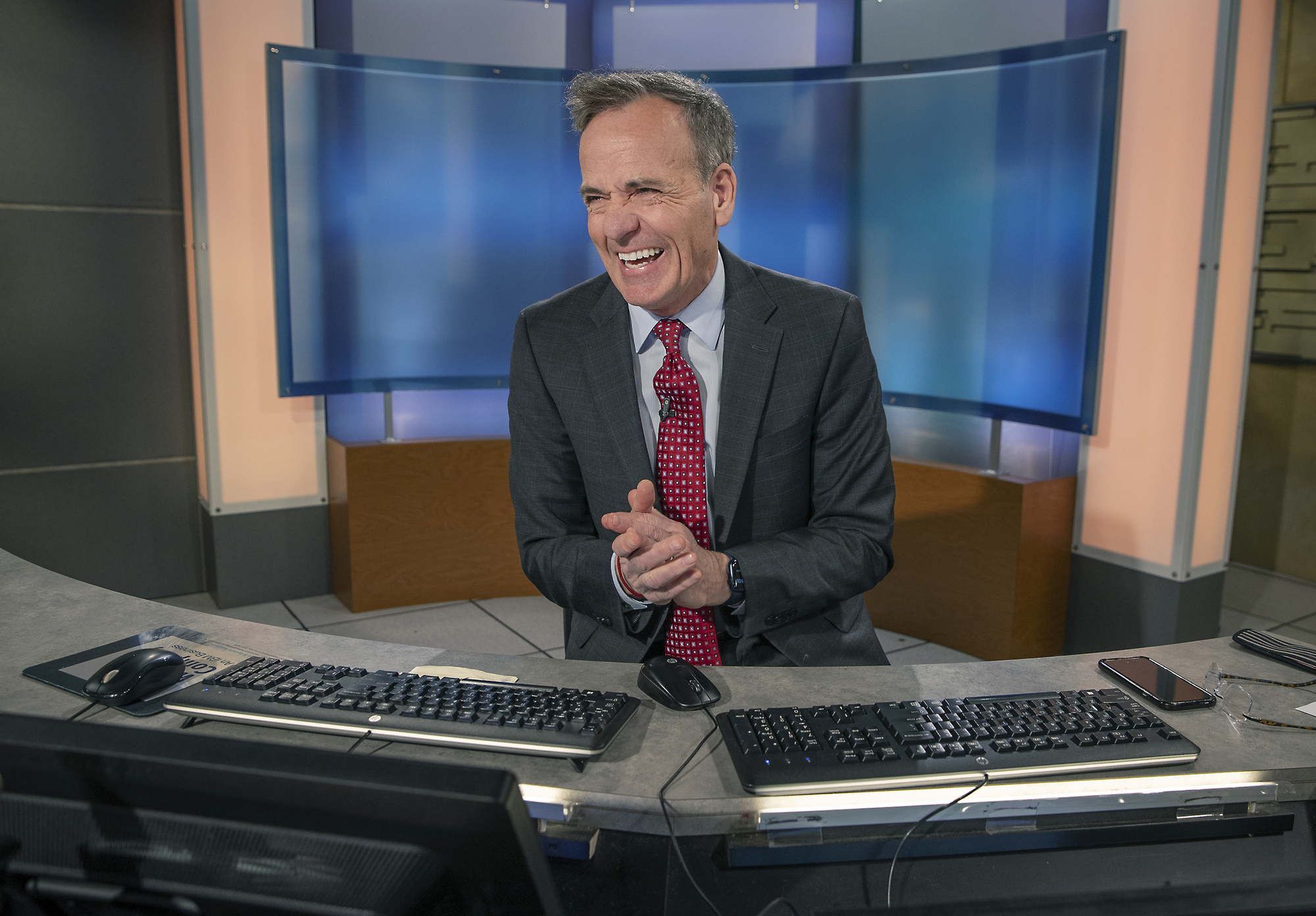 Ken Barlow shared a laugh with his KSTP co-anchors as he worked the morning news from the news station.
