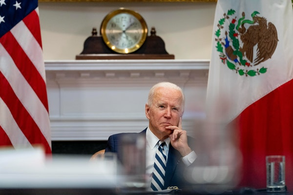 President Joe Biden during a virtual meeting with Mexican President Andres Manuel Lopez Obrador in the Roosevelt Room of the White House on Monday, Ma