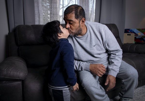 Trucker Israel Pliego — seen with his 2-year-old son Sebastian — was on a heart-lung bypass machine for 50 days last spring after catching COVID-1
